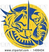 Vector Clip Art of Retro Knight or Saint George Fighting a Dragon in a Yellow and Blue Circle by Patrimonio