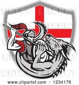 Vector Clip Art of Retro Knight Spearing a Dragon over an English Flag Shield by Patrimonio