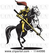 Vector Clip Art of Retro Knight with a Lance on a Jousting Horse 2 by Patrimonio