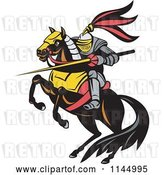 Vector Clip Art of Retro Knight with a Lance on a Jousting Horse by Patrimonio