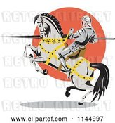 Vector Clip Art of Retro Knight with a Lance on a Rearing Jousting Horse by Patrimonio