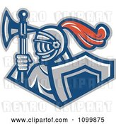 Vector Clip Art of Retro Knight with a Spear Ax and Shield by Patrimonio