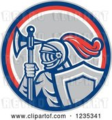 Vector Clip Art of Retro Knight with an Axe and Shield in a Red White and Gray Circle by Patrimonio