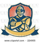 Vector Clip Art of Retro Knight with Crossed Arms, a Banner and Shield Logo by Patrimonio