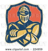 Vector Clip Art of Retro Knight with Crossed Arms and a Shield Logo by Patrimonio