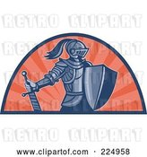 Vector Clip Art of Retro Knight with Shield and Sword Logo by Patrimonio