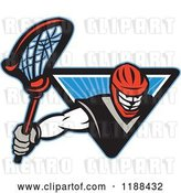Vector Clip Art of Retro Lacrosse Player Emerging from a Blue Triangle of Rays by Patrimonio