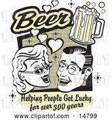 Vector Clip Art of Retro Lady and Guy with Beer, Beer, Helping People Get Lucky for over 300 Years by Andy Nortnik