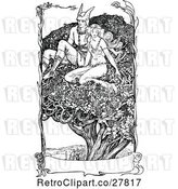 Vector Clip Art of Retro Lady and Hermes in a Tree with a Banner by Prawny Vintage