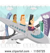 Vector Clip Art of Retro Lady and Men Flying on an Airplane by BNP Design Studio