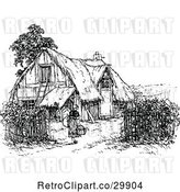 Vector Clip Art of Retro Lady and Thatched Cottage by Prawny Vintage