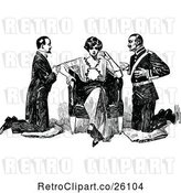 Vector Clip Art of Retro Lady and Two Suitors by Prawny Vintage