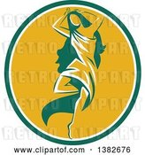 Vector Clip Art of Retro Lady, Aphrodite, Dancing a Pirouette in a Green White and Yellow Oval by Patrimonio