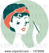 Vector Clip Art of Retro Lady Applying Eyeshadow over a Green Circle by BNP Design Studio