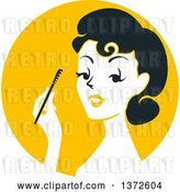 Vector Clip Art of Retro Lady Applying Mascara over a Yellow Circle by BNP Design Studio
