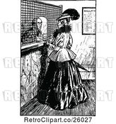 Vector Clip Art of Retro Lady at a Bank by Prawny Vintage
