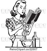Vector Clip Art of Retro Lady Baking and Reading a Cook Book by BestVector