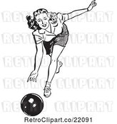 Vector Clip Art of Retro Lady Bowling by BestVector