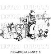 Vector Clip Art of Retro Lady Butchering Chickens 3 by Prawny Vintage
