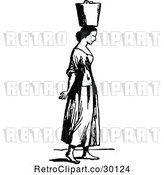 Vector Clip Art of Retro Lady Carrying a Water Pail on Her Head by Prawny Vintage