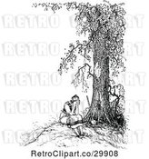 Vector Clip Art of Retro Lady Crying Under a Tree by Prawny Vintage