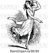 Vector Clip Art of Retro Lady Dancing by Prawny Vintage