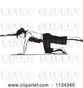 Vector Clip Art of Retro Lady Doing Pilates Bird Dog Pose by David Rey