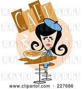 Vector Clip Art of Retro Lady Drinking Coffee in a Cafe by Andy Nortnik
