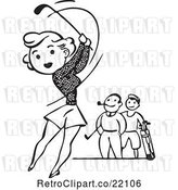 Vector Clip Art of Retro Lady Golfing by BestVector
