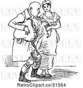 Vector Clip Art of Retro Lady Helping an Injured Senior Guy by Prawny Vintage