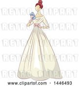 Vector Clip Art of Retro Lady Holding a Clutch and Wearing a Beautiful Gown by BNP Design Studio