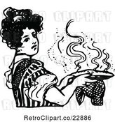Vector Clip Art of Retro Lady Holding a Hot Pie by Prawny Vintage