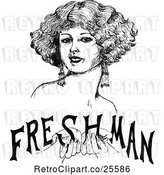 Vector Clip Art of Retro Lady Holding Freshman Text by Prawny Vintage