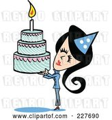 Vector Clip Art of Retro Lady Holding up a Birthday Cake by Andy Nortnik