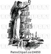 Vector Clip Art of Retro Lady Holding up a Book in a Library by Prawny Vintage
