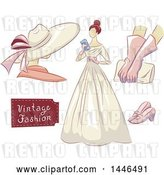 Vector Clip Art of Retro Lady in a Dress, with a Mannequin, Gloves, Clutch, and Shoes by BNP Design Studio