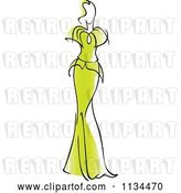 Vector Clip Art of Retro Lady in a Gorgeous Green Gown by Vector Tradition SM