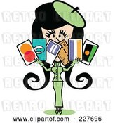 Vector Clip Art of Retro Lady in a Green Suit, Holding a Bunch of Credit Cards by Andy Nortnik