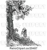 Vector Clip Art of Retro Lady in a Tree over a Couple by Prawny Vintage