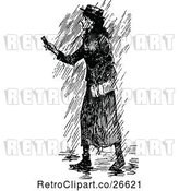 Vector Clip Art of Retro Lady in the Rain by Prawny Vintage