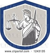 Vector Clip Art of Retro Lady Justice with a Sword and Scales in a Shield by Patrimonio