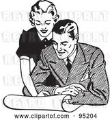 Vector Clip Art of Retro Lady Leaning over a Guy and Discussing Plans by BestVector