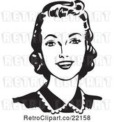 Vector Clip Art of Retro Lady Looking Forward and Smiling by BestVector