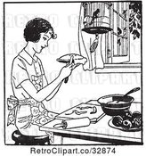 Vector Clip Art of Retro Lady Making Apple Pie by Picsburg