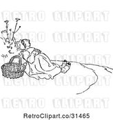 Vector Clip Art of Retro Lady Napping Outdoors by Prawny Vintage