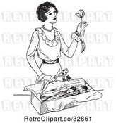 Vector Clip Art of Retro Lady Opening a Box of Tulips by Picsburg