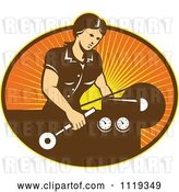 Vector Clip Art of Retro Lady Operating a Lathe Machine over Rays by Patrimonio