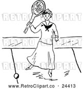 Vector Clip Art of Retro Lady Playing Tennis 2 by Prawny Vintage