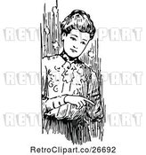 Vector Clip Art of Retro Lady Pointing by Prawny Vintage