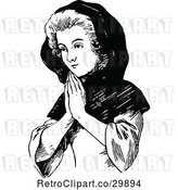 Vector Clip Art of Retro Lady Praying by Prawny Vintage